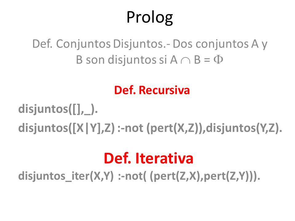 Prolog Def. Conjuntos Disjuntos.- Dos conjuntos A y B son disjuntos si A  B =  Def. Recursiva. disjuntos([],_).
